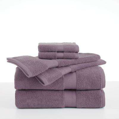 Abundance 6-Piece Cotton Blend Towel Set in Plum