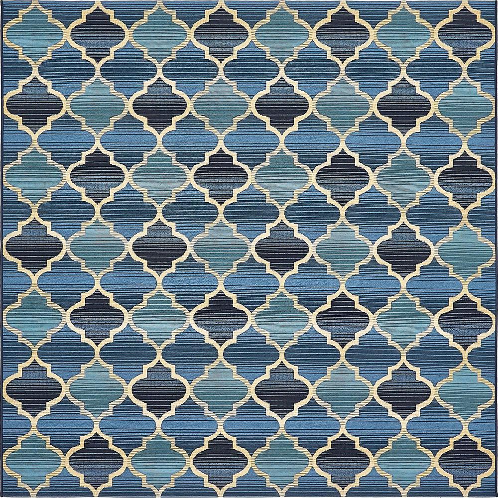 Outdoor Blue 6' x 6' Square Indoor/Outdoor Rug