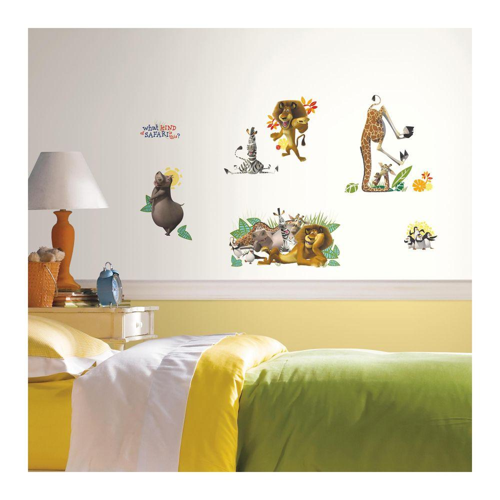 RoomMates 5 in. x 11.5 in. Madagascar 22-Piece Peel and Stick Wall Decal