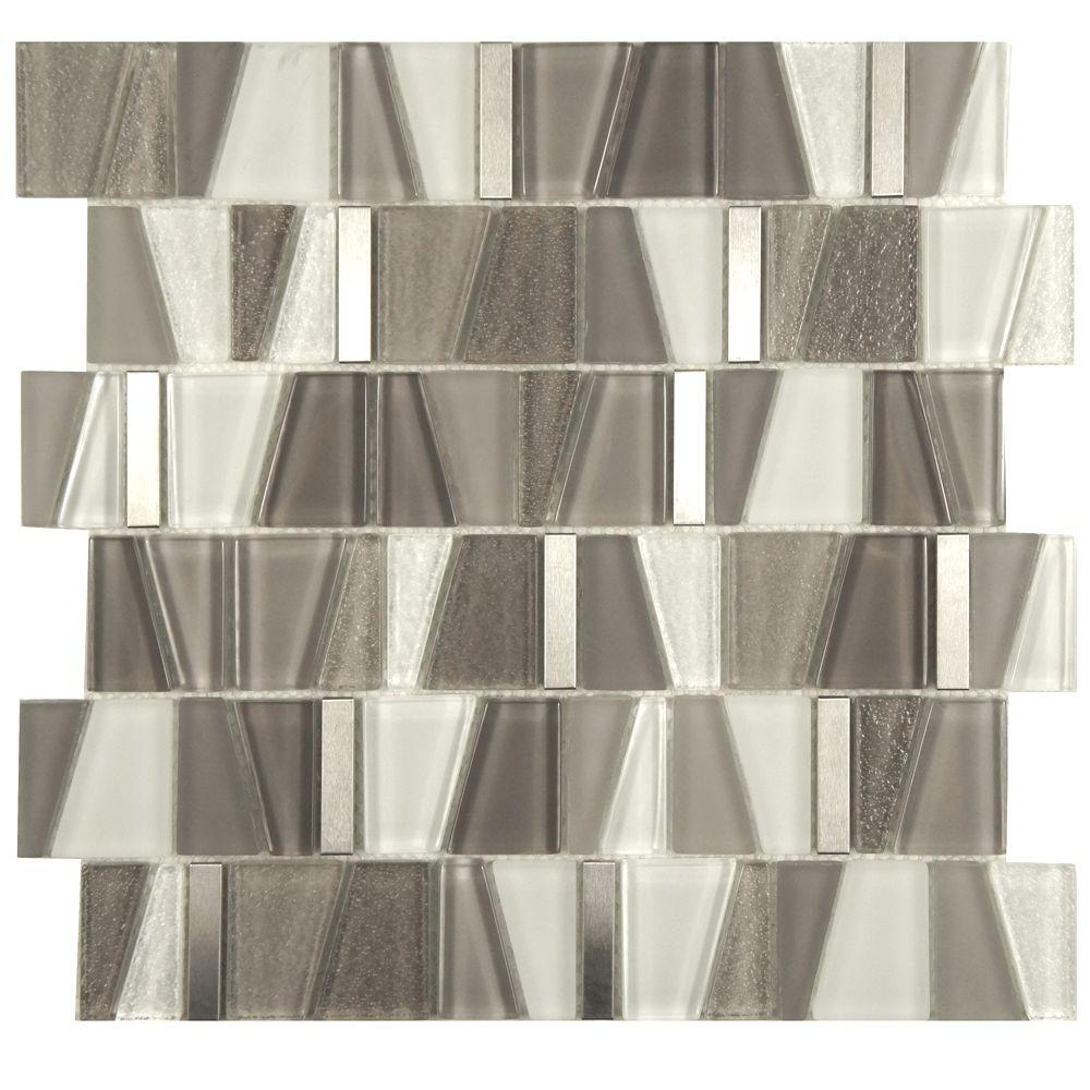 Merola Tile Trapezium Grey 11-3/4 in. x 11-7/8 in. x 6 mm Glass and Stainless Steel Mosaic Tile
