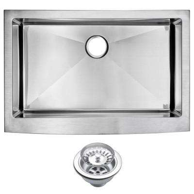 Farmhouse Apron Front Stainless Steel 33 in. Single Bowl Kitchen Sink with Strainer in Satin