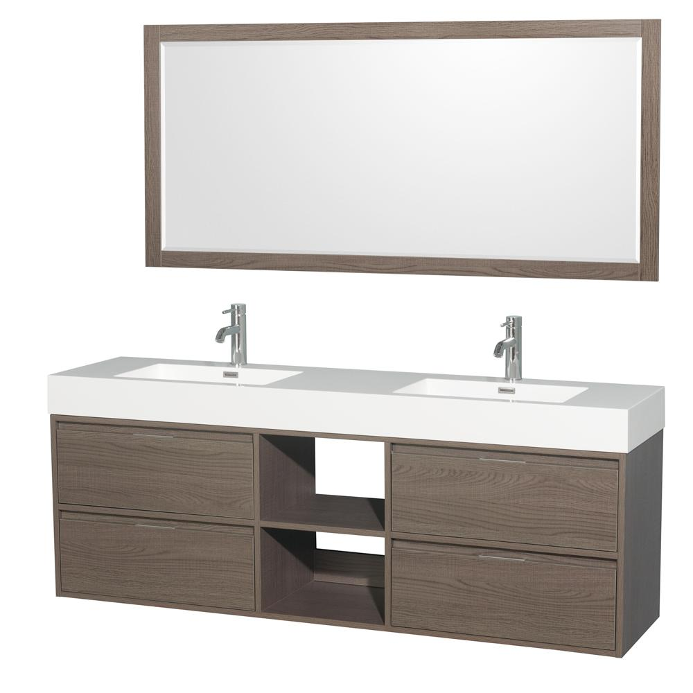Wyndham Collection Daniella 72 in. W x 18 in. D Vanity in Gray Oak with Acrylic Vanity Top in White with White Basins and 70 in. Mirror