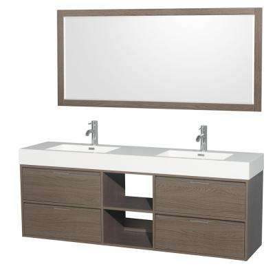 Daniella 72 in. W x 18 in. D Vanity in Gray Oak with Acrylic Vanity Top in White with White Basins and 70 in. Mirror