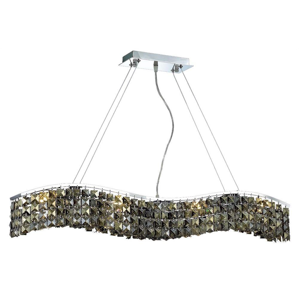 Elegant Lighting 8-Light Chrome Pendant with Golden Teak, Smoky Crystal