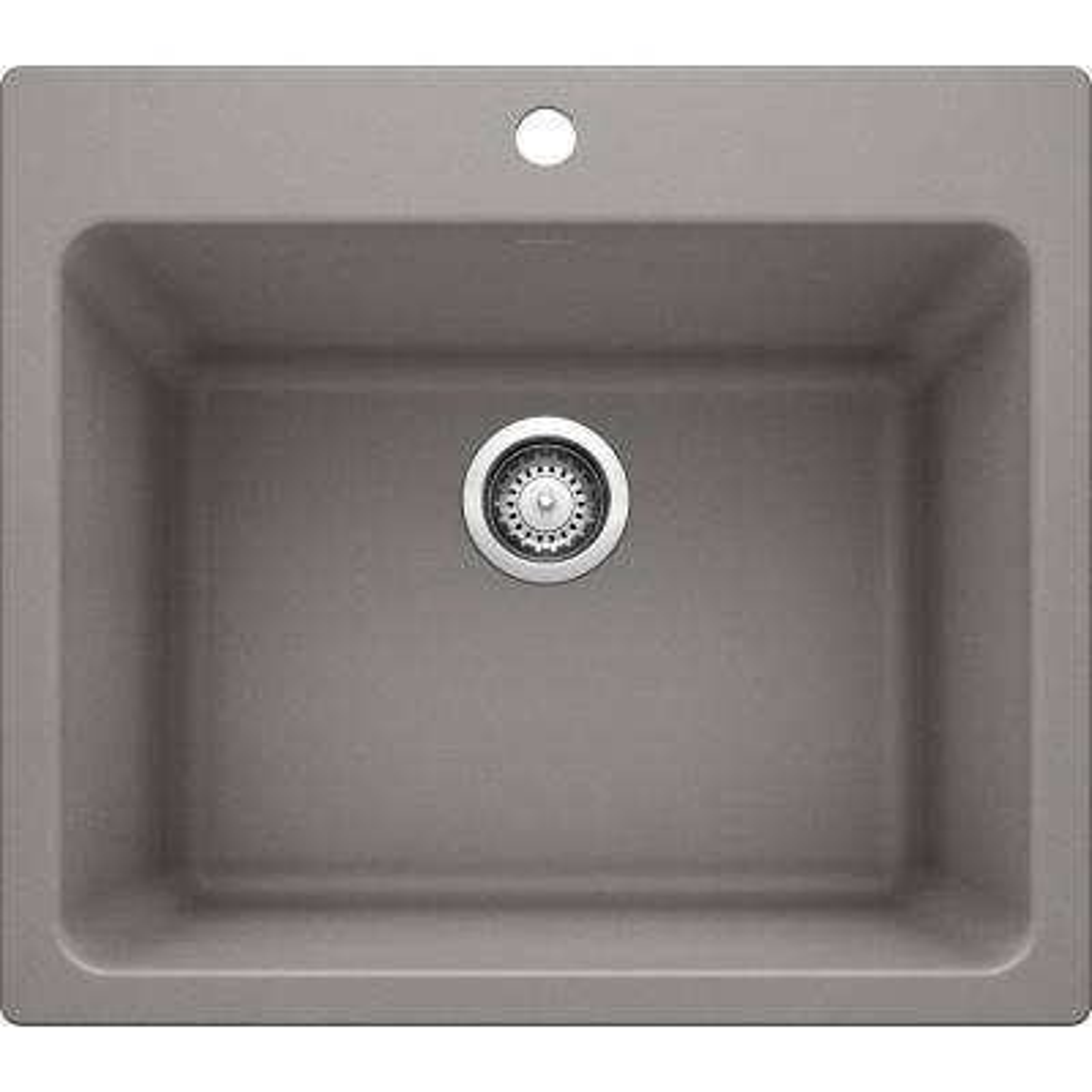 LIVEN SILGRANIT Granite Composite 25 in. x 22 in. Dual Mount Laundry Sink in Metallic Gray