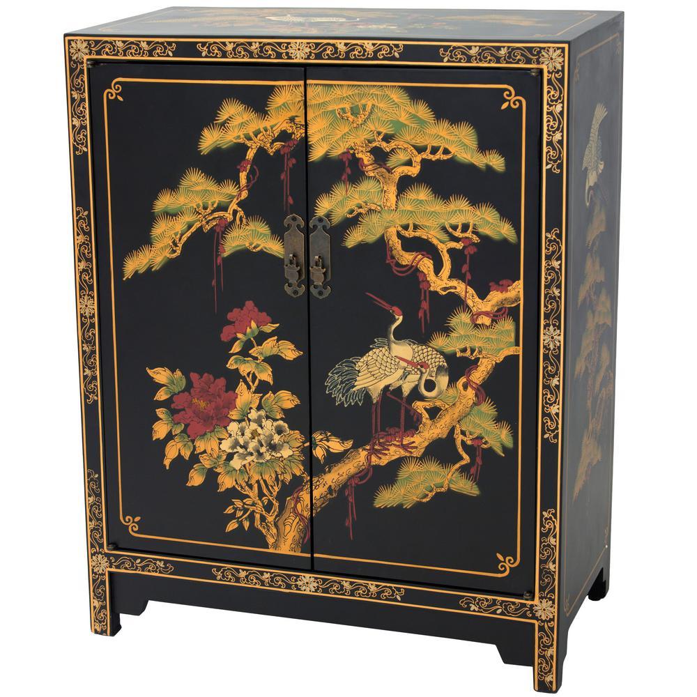 Oriental Furniture Black Lacquer Cranes Design Cabinet