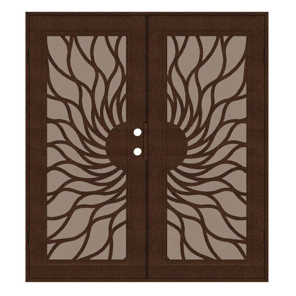 Unique Home Designs 72 in. x 80 in. Sunfire Copperclad Right-Hand Recessed Mount Aluminum Security Door with Desert Sand Perforated Screen
