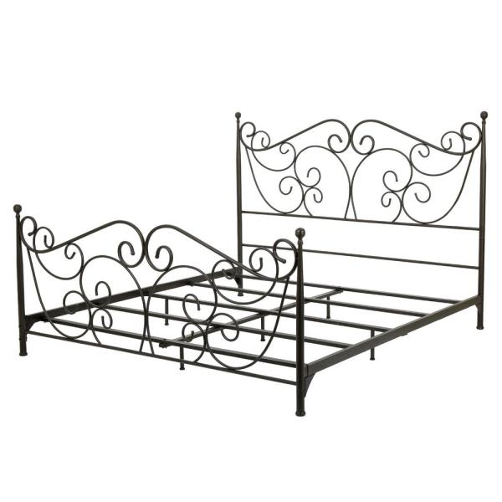 Dark Bronze King Metal Scrollwork Bed Frame