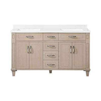 Thornfield 60 in.Bath Vanity in White Washed Maple with Cultured Marble Vanity Top in White with White Basin