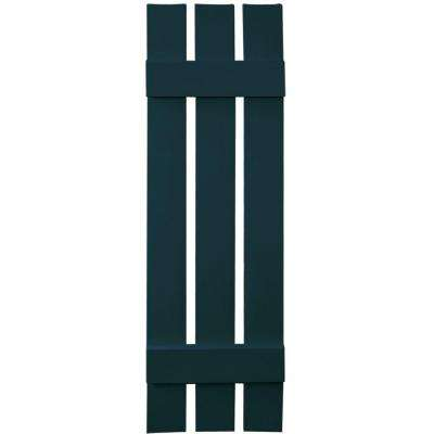 12 in. x 43 in. Board-N-Batten Shutters Pair, 3 Boards Spaced #166 Midnight Blue