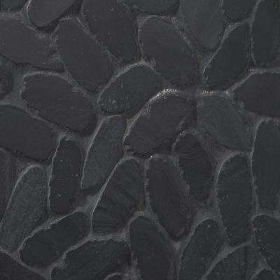 Countryside Sliced Flat Oval 11.81 in. x 11.81 in. Black Floor and Wall Mosaic (0.97 sq. ft. / sheet)