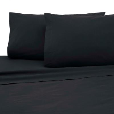 4-Piece Ebony Solid 225 Thread Count Cotton Blend Queen Sheet Set