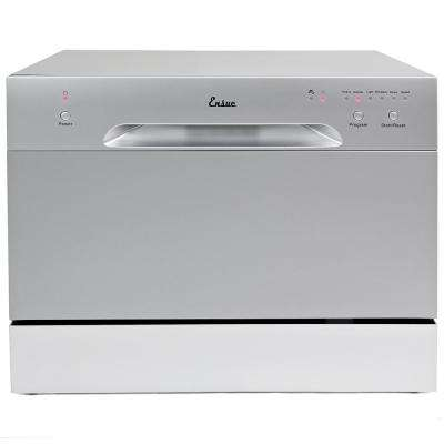 Portable Countertop Compact Dishwasher with 6-Program Settings and Stainless Steel Tub in Silver