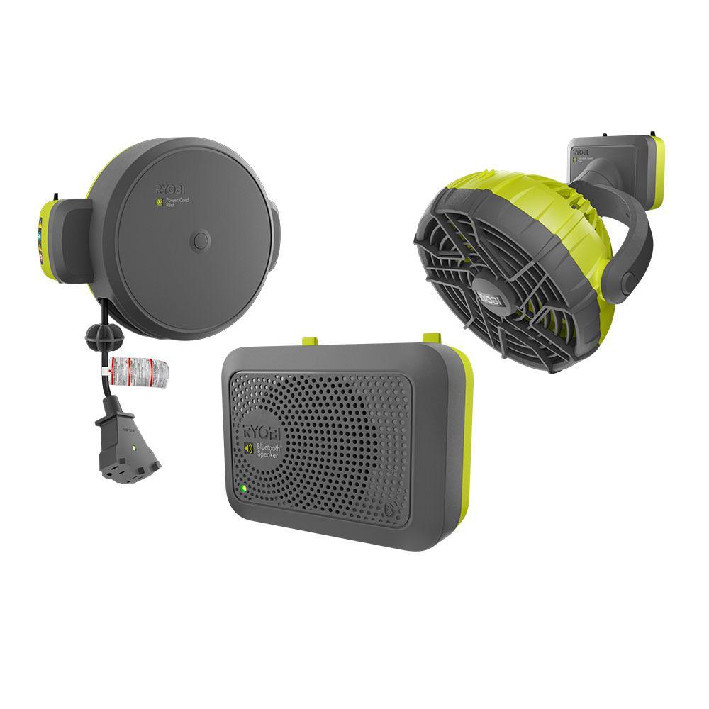 Garage Retractable Cord Reel, Bluetooth Wireless Speaker, and Fan Accessories