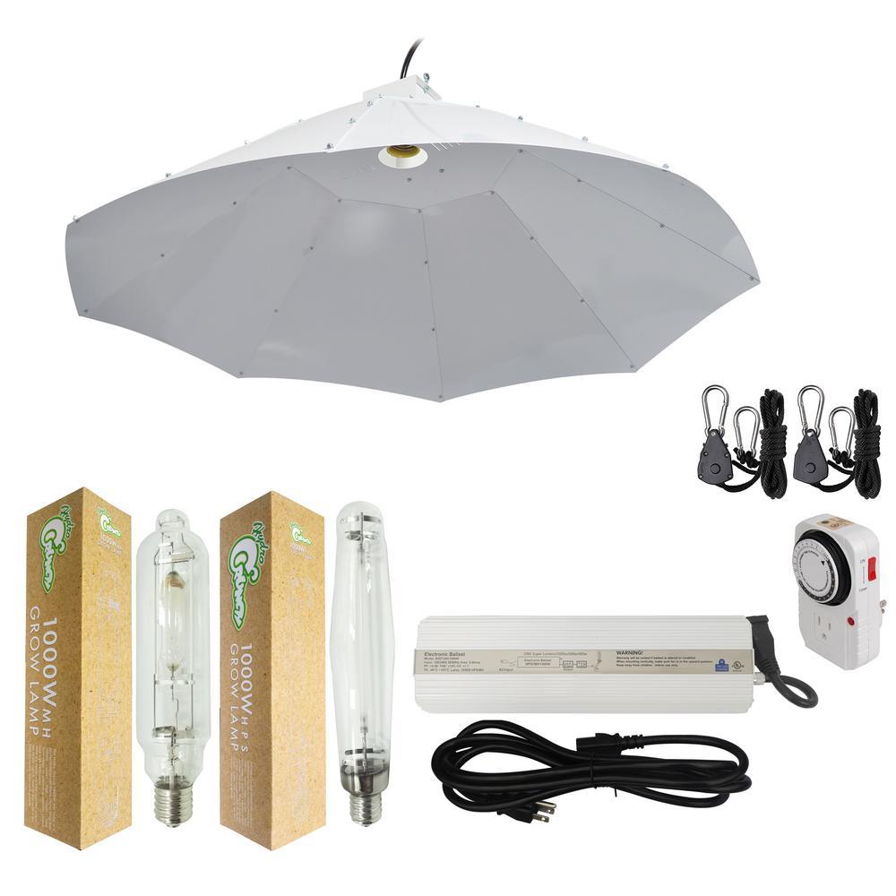 1000-Watt HPS/MH Grow Light System with 42 in. Parabolic Vertical Umbrella Hood Reflector