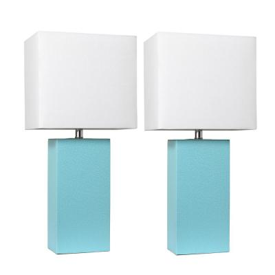 Modern 21 in. Aqua Leather Table Lamps with White Fabric Shades (2-Pack)