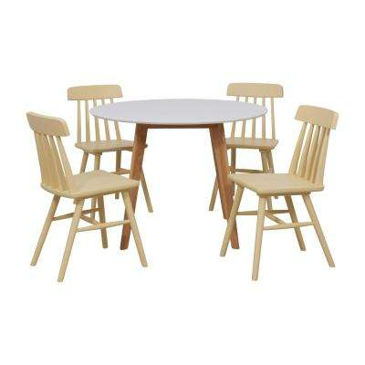 Edgewater 5-Piece Dining Set with White Topped Round Table and Armless Wood Dining Chairs in Yellow