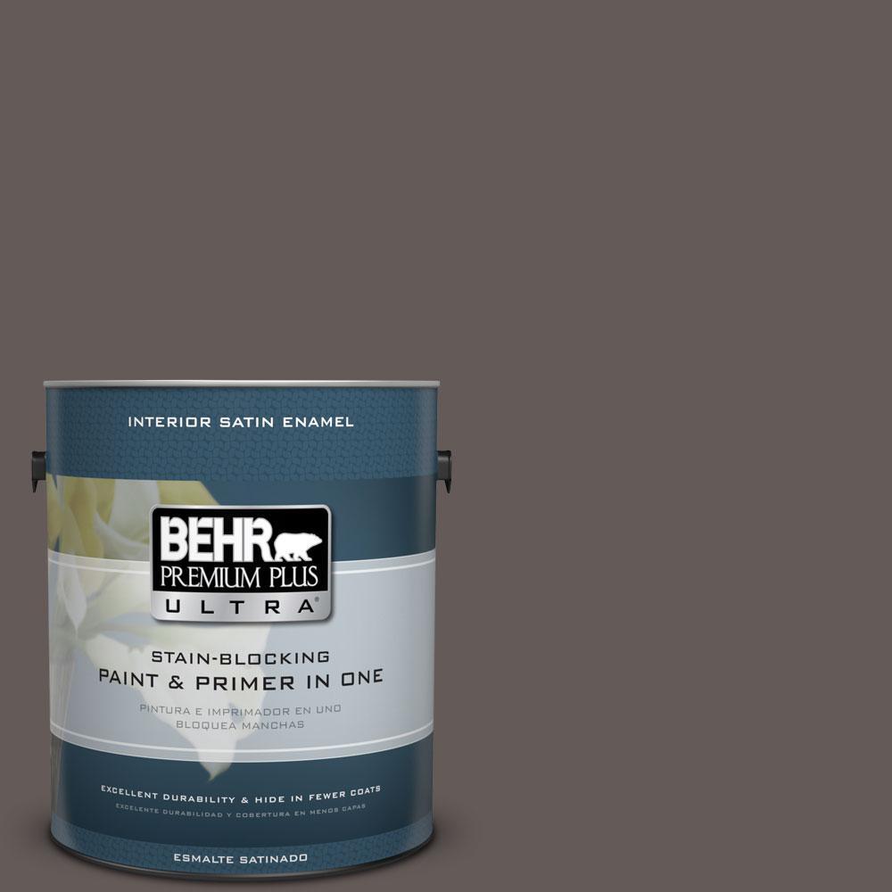 BEHR Premium Plus Ultra 1-gal. #BXC-71 Wood Acres Satin Enamel Interior Paint