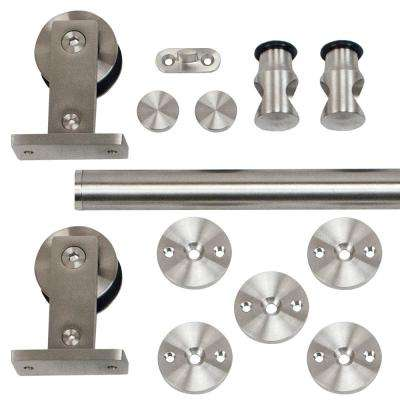 96 in. Stainless Steel Top Mount Rolling Door Hardware Kit for Wood Doors