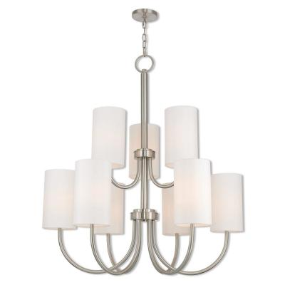 Haddonfield 9-Light Brushed Nickel Foyer Chandelier with Off White Fabric Outside and White Inside Hardback Shades