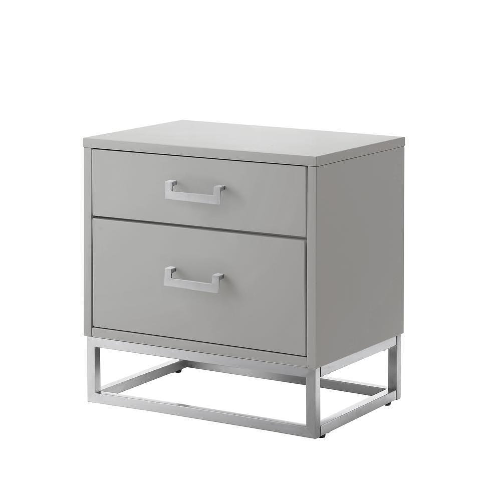 Millani Modern Light Grey/Chrome End Table Metal Base Knob Nightstand