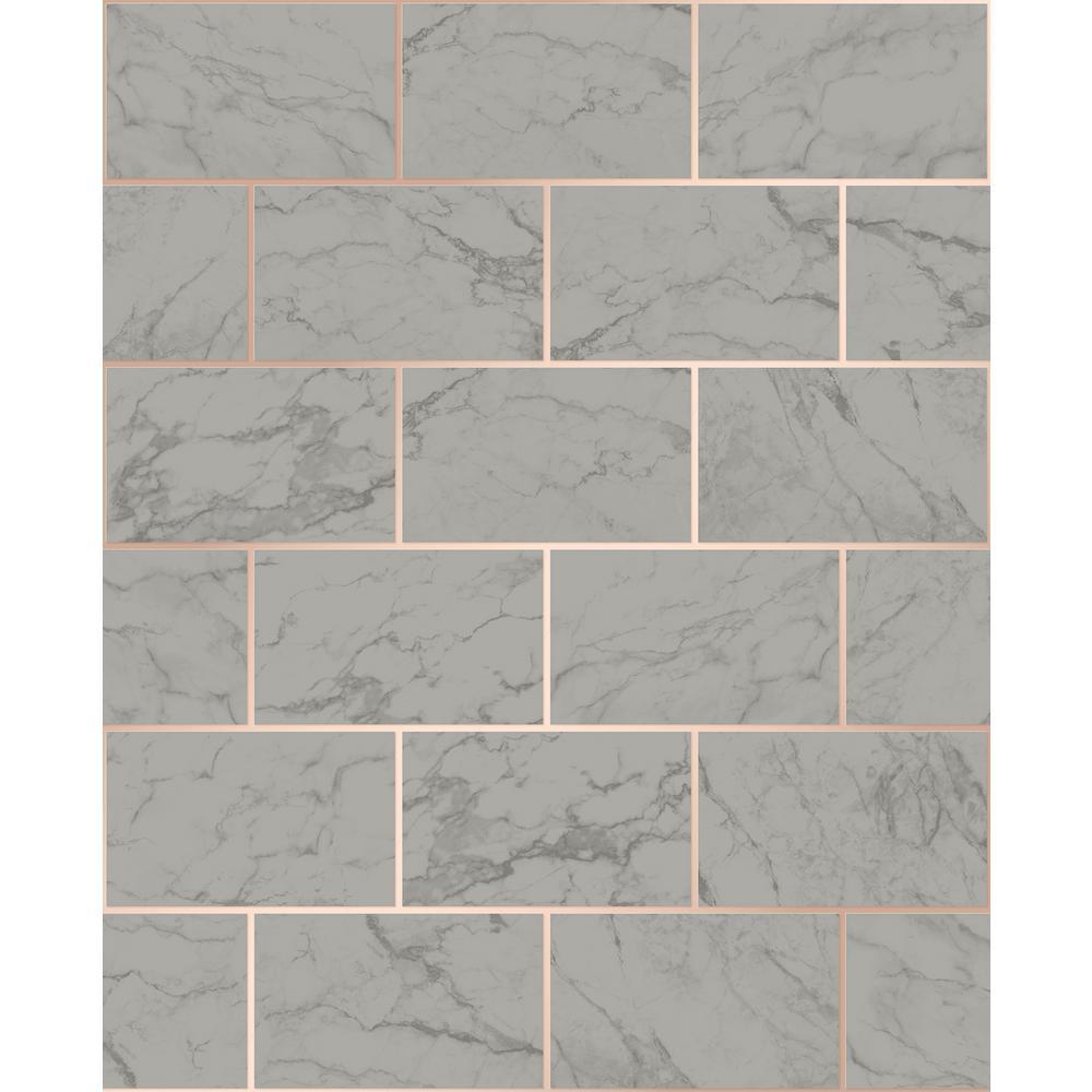 Mirren Grey Marble Subway Tile Wallpaper