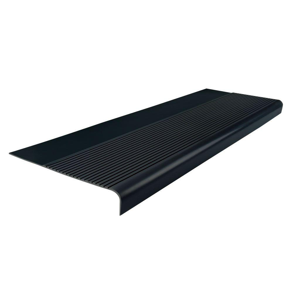 Ribbed Profile Black 12-1/4 in. x 36 in. Round Nose Stair