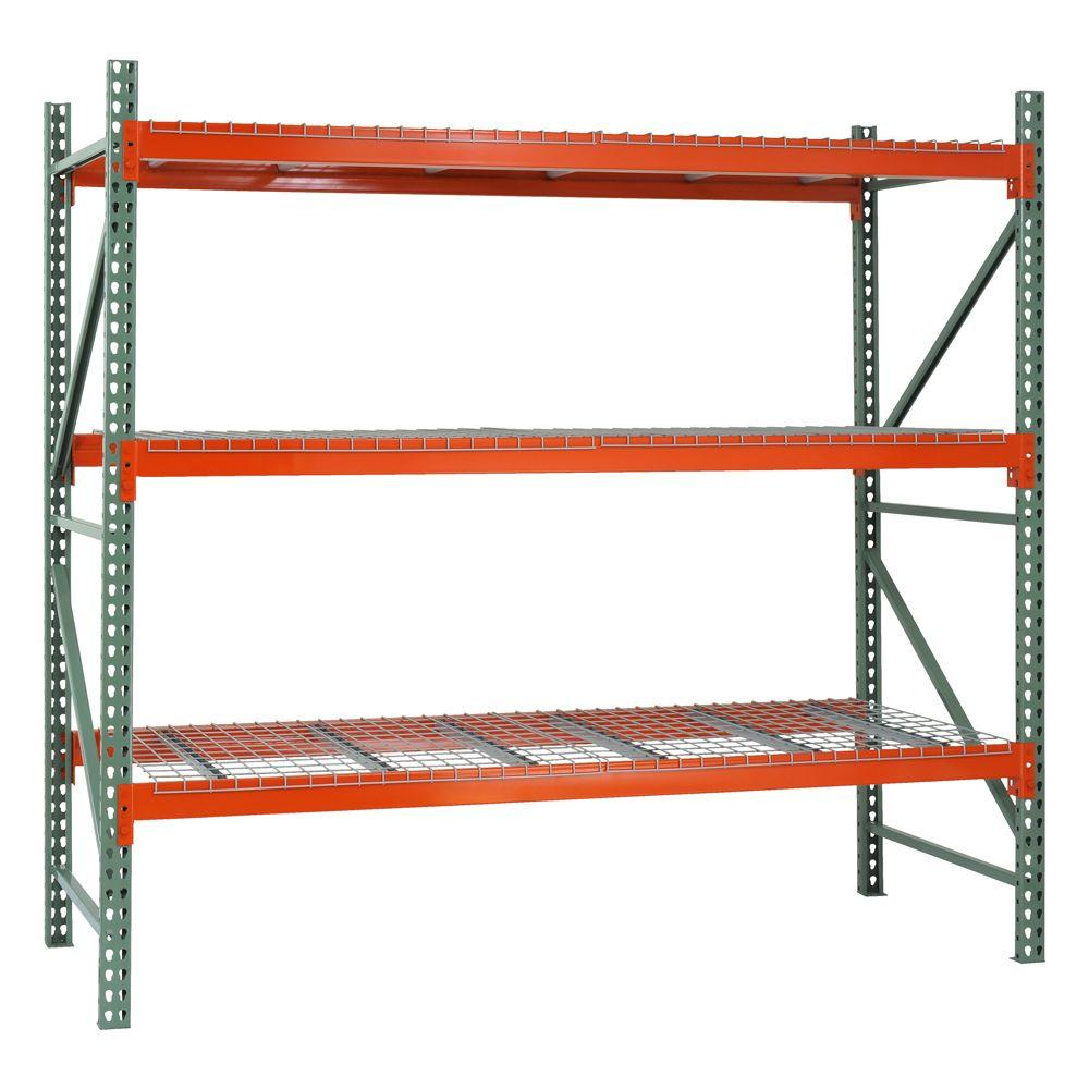 Edsal 96 in. H x 120 in. W x 42 in. D 3-Shelf Steel Pallet Rack Starter Kit in Green/Orange