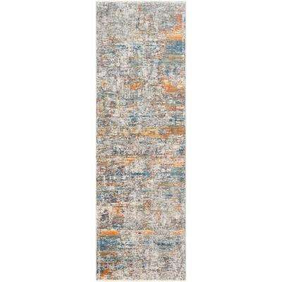 Congressional Orange/Blue 3 ft. 3 in. x 10 ft. Abstract Area Rug