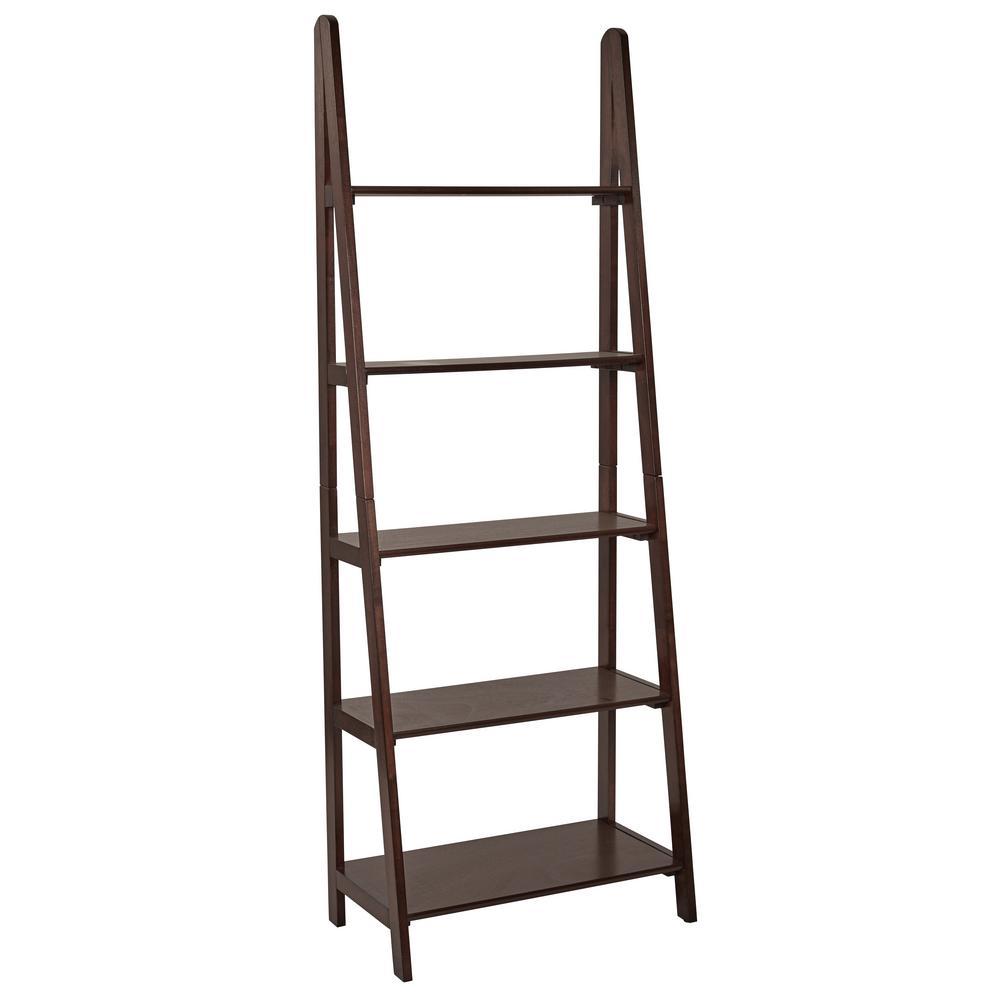 OSP Home Furnishings Espresso Ladder Bookcase
