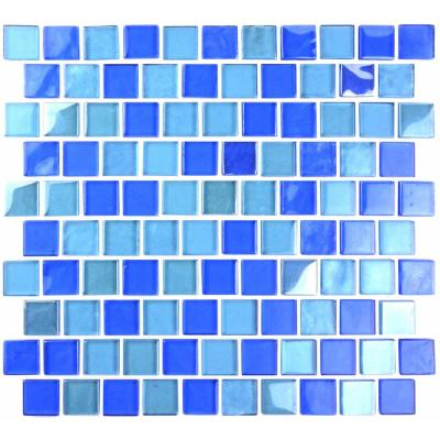 Landscape Horizon Blue Linear Mosaic 1 in. x 1 in. Glossy Glass Wall Pool and Floor Tile (0.84 Sq. ft.)