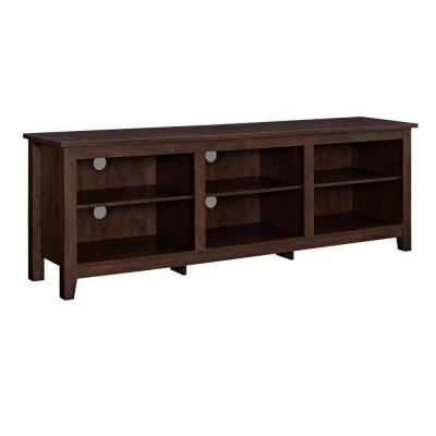 Walker Edison 70 in. Traditional Brown MDF TV Stand 70 in. with Adjustable Shelves