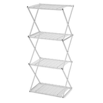 4-Tier Small Powder-Coated Steel Tube Shelving in White