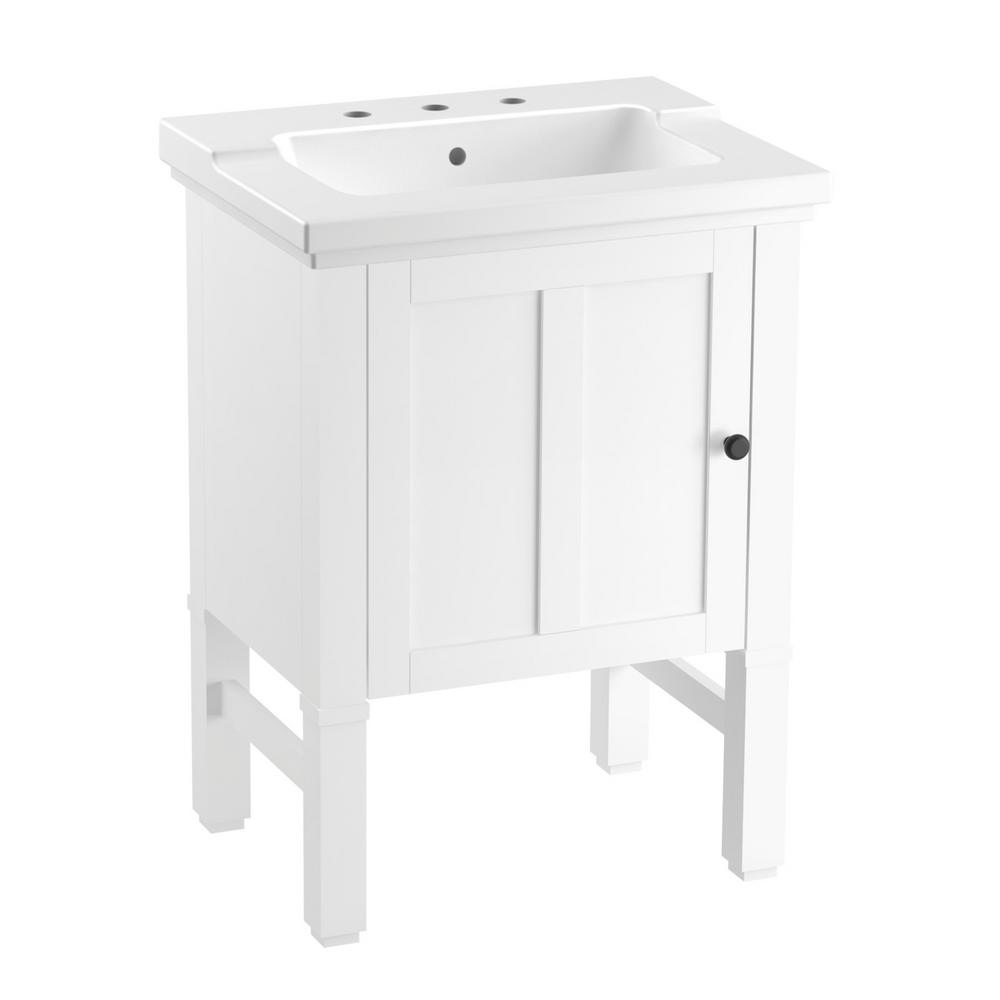 Kohler Chambly 24 In W Vanity In Linen White With Ceramic Vanity Top In White With White Basin K R20195 1wa The Home Depot