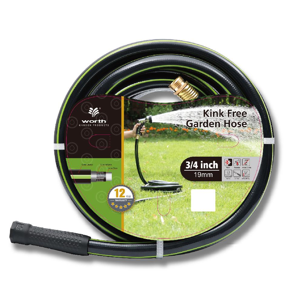 Worth Garden Kink Free 3/4 in. Dia x 100 ft. Heavy Duty Garden Hose The 3/4 in. Dia x 100 ft. kink free garden hoes weights 21.6 lbs. It is made from lead free vinyl. The hose is black with a green stripe. It is a strong and useful add on to your gardening collections.