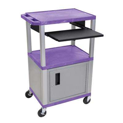 WTPS 42 in. A/V Cart, Nickel Cabinet And Legs With Black Pull Out Shelf, Purple Shelves