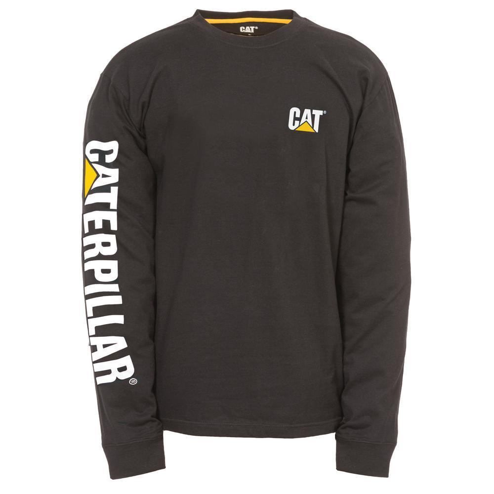 34736be4e736 Caterpillar Trademark Banner Men's Large Black Cotton Long Sleeved T-Shirt