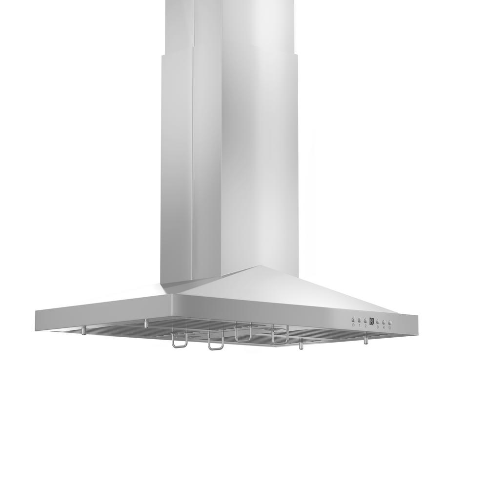 ZLINE Kitchen and Bath 36 in. 760 CFM Island Mount Convertible Range Hood in Stainless Steel, Brushed 430 Stainless Steel ZLINE 36 in popular sleek stainless-steel style of Island Range Hood. Built for years of trouble free use. Easily Convertible to recirculating operation with purchase of carbon filters or standard configuration vents outside. Efficiently and quietly moves large volumes of air and fits ceilings up to 12 ft. with the purchase of the proper ZLINE extensions. Color: Brushed 430 Stainless Steel.