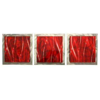Brevium 12 in. x 38 in. Cherry Essence Metal Wall Art (Set of 3)
