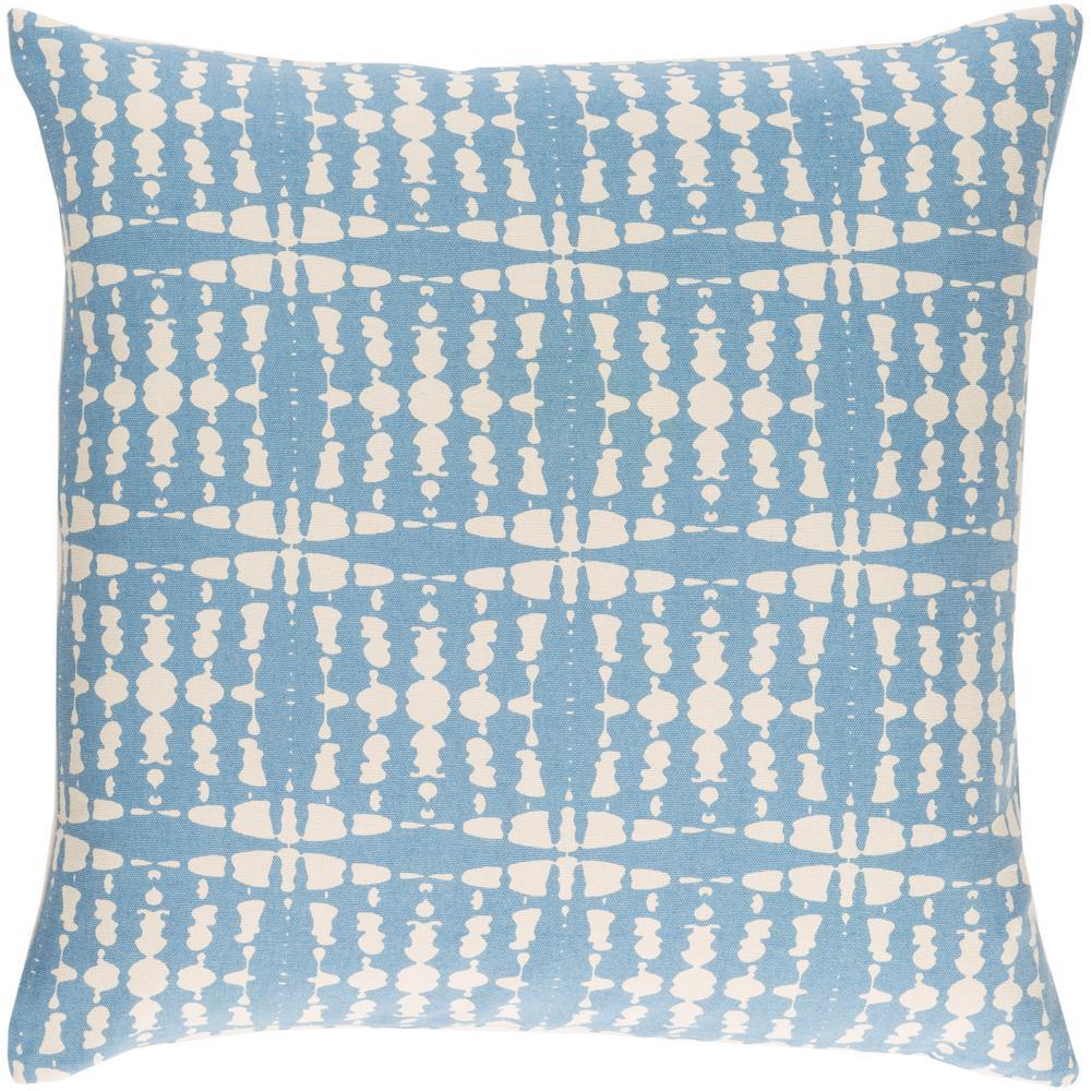Ritu Sky Blue Geometric Polyester 22 in. x 22 in. Throw Pillow