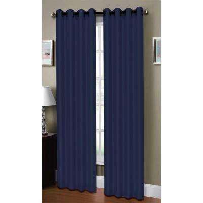 Semi-Opaque Raphael Heathered Faux-Linen Extra-Wide 96 in. L Grommet Curtain Panel Pair, Indigo (Set of 2)
