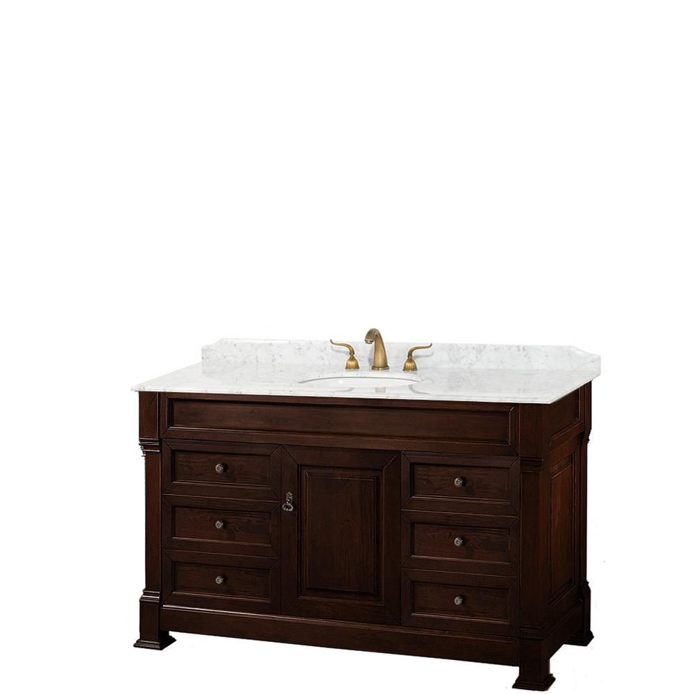 Wyndham Collection Andover 55 in. W x 23 in. D Bath Vanity in Dark Cherry with Marble Vanity Top in White with White Basin