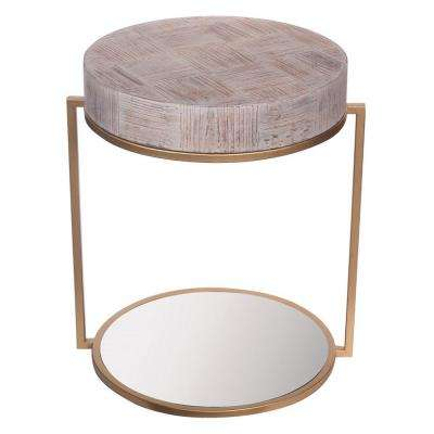23 in. Brown Wood Mirrored Table