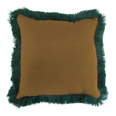 Sunbrella Canvas Teak Square Outdoor Throw Pillow with Forest Green Fringe