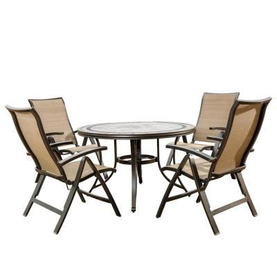 Brown 5-Piece Outdoor Patio Dining Set with 4 Foldable Sling Arm Chair and 46 in. Round Mosaic Tile Top Aluminum Table