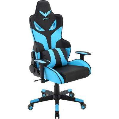 Commando Black Ergonomic Gaming Chair and Electric Blue with Adjustable Gas Lift Seating and Lumbar Support