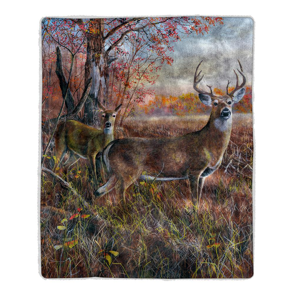 Deer Print Sherpa Fleece Blanket