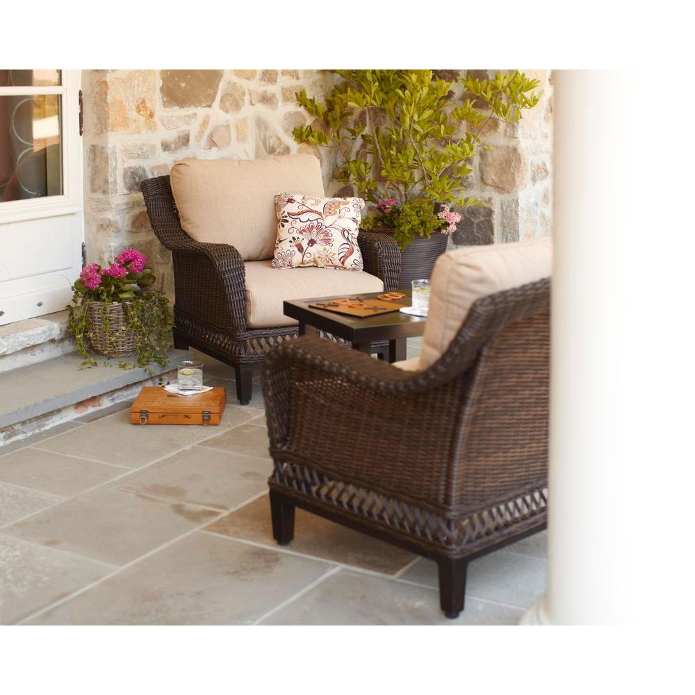 Hampton Bay Woodbury 3 Piece Wicker Outdoor Patio Chat Set With Textured  Sand Cushion