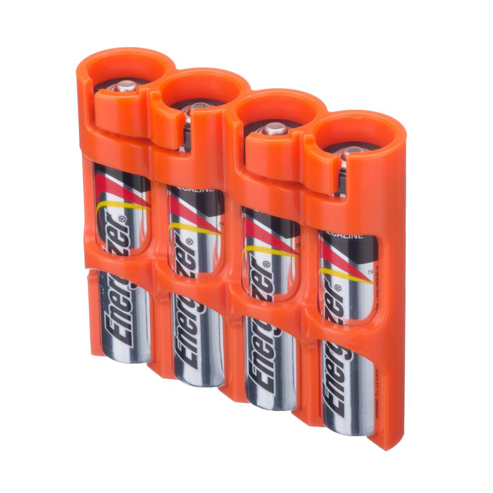 Storacell Slim Line Aaa 4 Pack Battery Organizer And Dispenser Slaaa4org The Home Depot