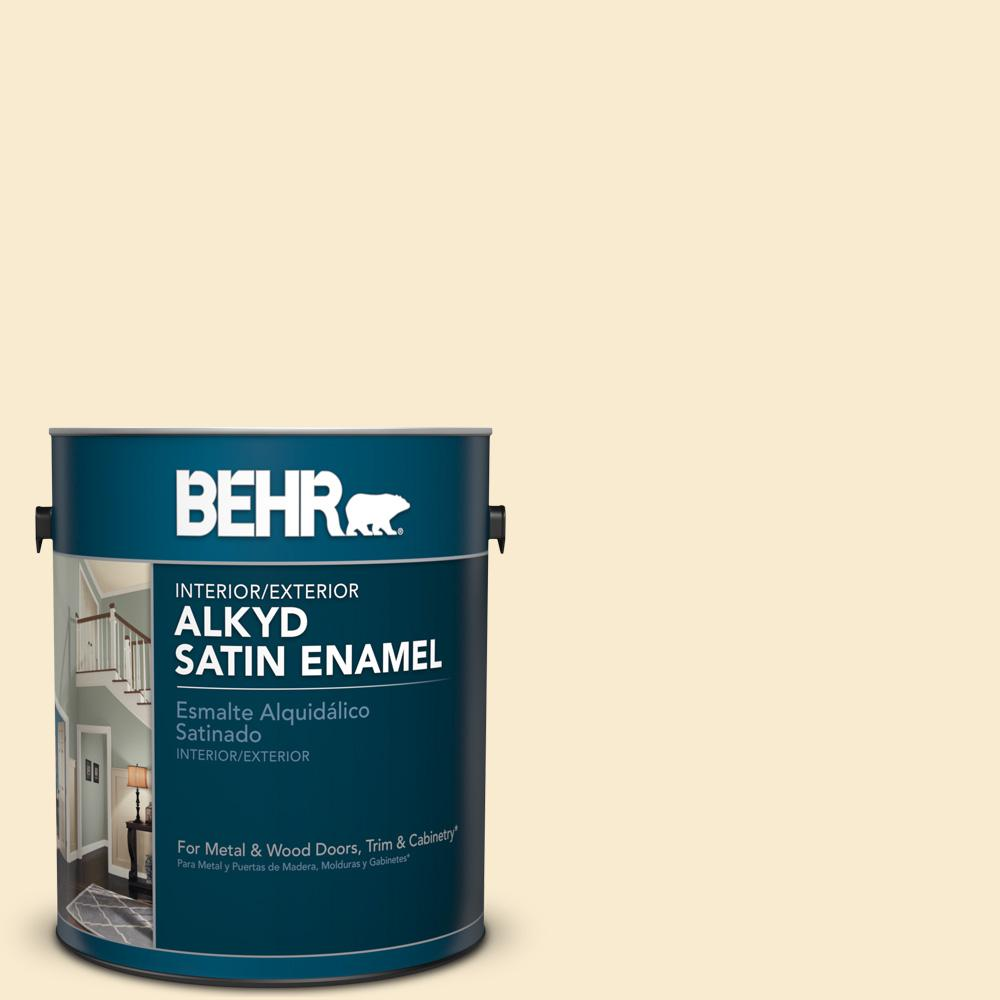 1 gal. #OR-W4 Nice Cream Satin Enamel Alkyd Interior/Exterior Paint
